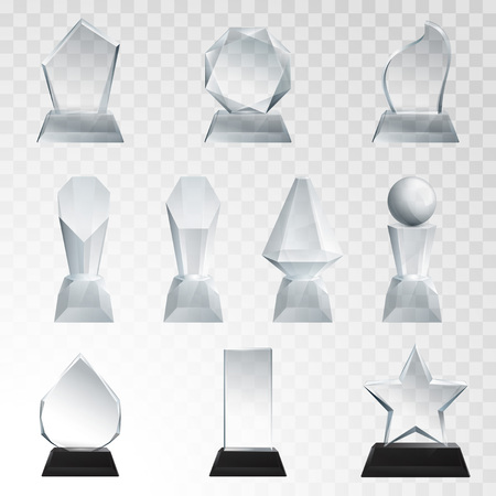 Glass trophies plaque engraved crystal award realistic vector illustration on transparent background Illustration