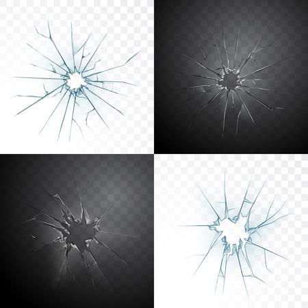 Gebrochene Fensterscheibe oder Tür rissiges Loch realistisches transparentes Glas lokalisiert auf Tageslicht- und Dunkelnachthintergrund