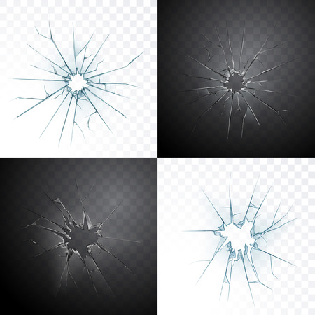 Rozbita szyba lub pęknięty otwór drzwiowy realistyczne przezroczyste szkło na białym tle na tle światła dziennego i ciemnej nocy