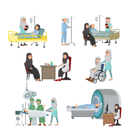 Set of Arabian Doctor And Patient Illustration Medical Treatment on Hospital Vector Cartoon Vectores