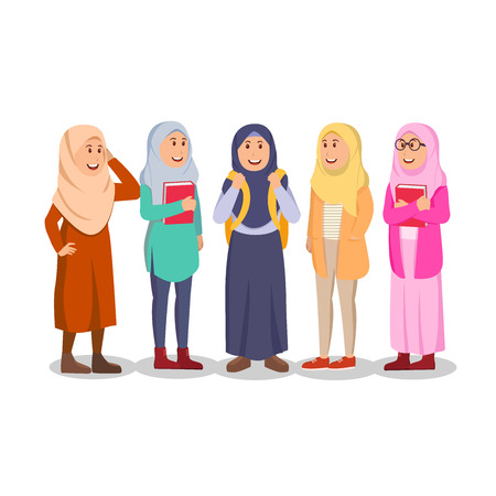 Group of Casual Muslim Woman Student Cartoon Illustration Иллюстрация