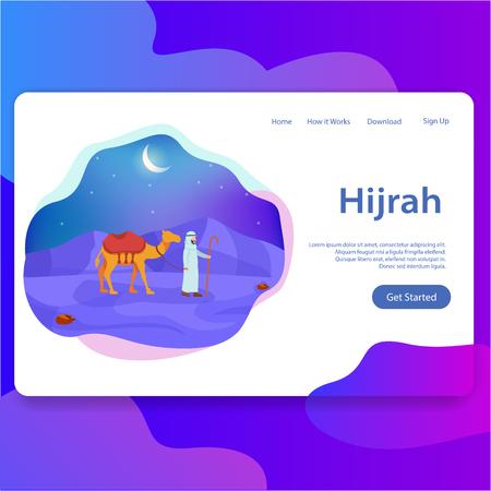 Hijrah, Islamic New Year Landing Page Modern UI Template Illustration