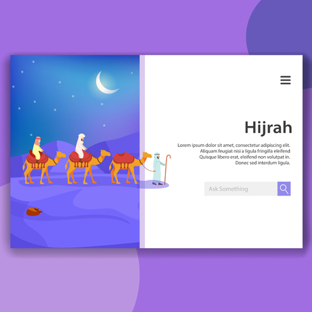 Illustration of Landing Page Hijrah Islamic Migrate Meaning Moving, Flat Vector Design