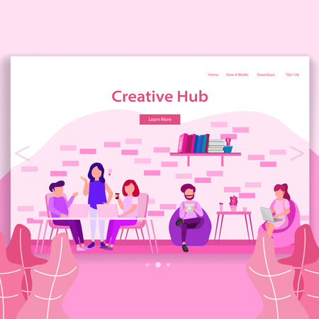 Creative Hub, Coworking Space Landing Page Illustration Stockfoto - 109364398