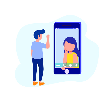 Video Call Illustration, Young Couple Calling Face-to-Face Using Chat App. Vector Illustration Flat Design Иллюстрация