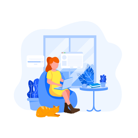 Work From Home Illustration, Young Woman Freelancer Vector Flat Illustration Illustration