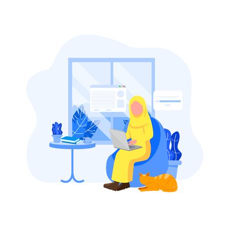 Arabian Woman Remote Worker, Freelancer Occupation Work From Home Flat Vector Cartoon