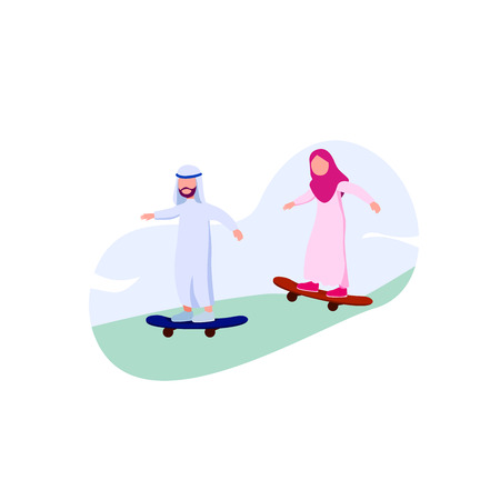 Arabian Young People Hipster Playing Skateboard Illustration Vector