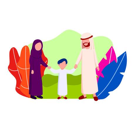 Happy Arabian Family Walking Together Flat Vector Illustration
