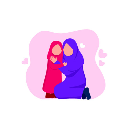 Arabian Mother And Daughter, Happy Family Celebrating Mother Day  Flat Vector Cartoon Illustration