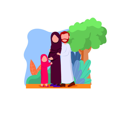 Happy Arabian Family, Mother Pregnant Waiting Newborn Baby WIth Her Daughter And Husband Flat Vector Cartoon
