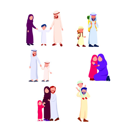Set Group Illustration Happy Arabian Family, Father, Mother, Daughter And Son Flat Vector Cartoon Simple Çizim