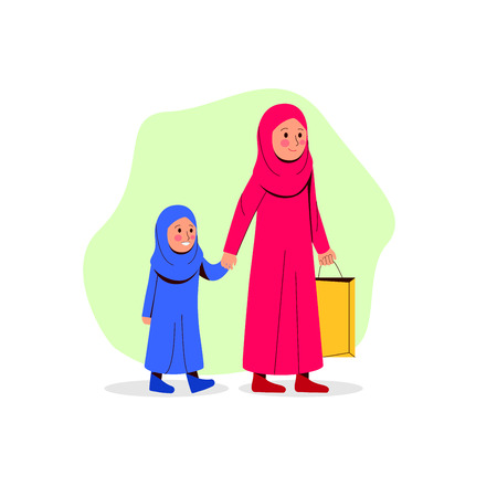 Arabian Mother And Her Daughter Walking Together Bring Paper Bag, Vector Cartoon Illustration 矢量图像
