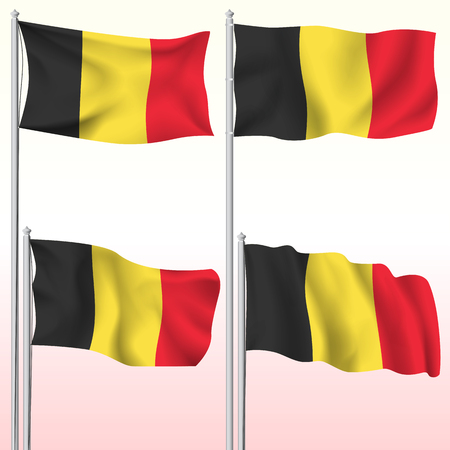 Belgium textile waving flag isolated vector illustration