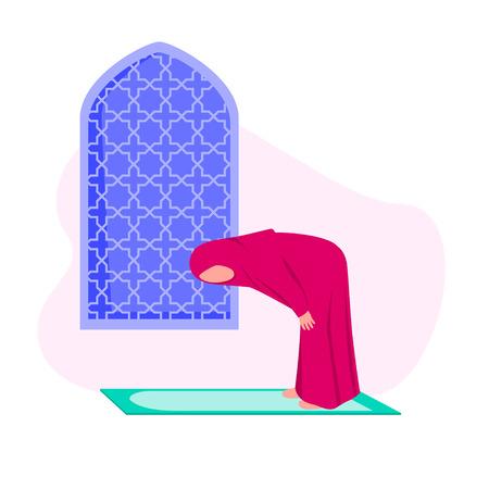 Muslim Woman Practicing Shalat Meaning Islamic Prayer. Bowing Down Part In Praying, Flat Vector Illustration 일러스트