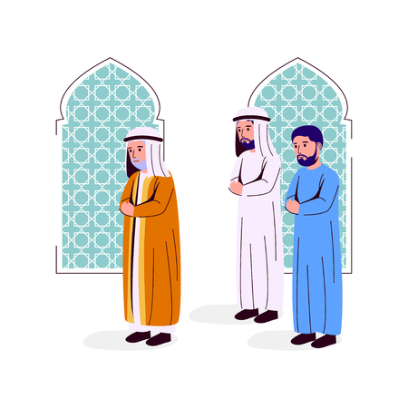 Illustration Arabian Man Praying Together, Imam And Makmum Vector Illustration