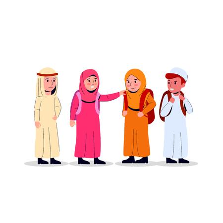Garçons et filles arabes portant un sac à dos, illustration de l'école junior pour enfants vecteur plat de griffonnage Vecteurs