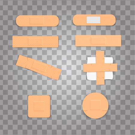 Set Isolated Realistic Medicine Plaster Bandage and Cotton Gauze Vector Illustration Standard-Bild - 112626953