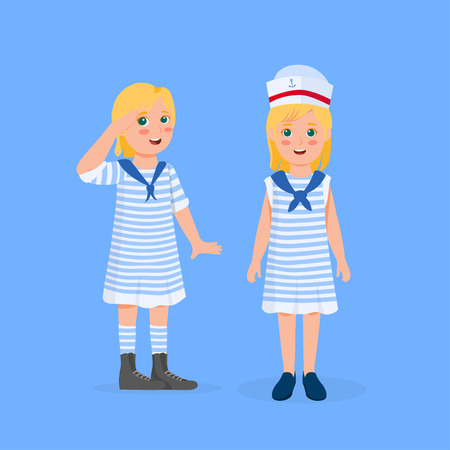 Cute Blonde Little Girl Wearing Sailor Costume Vector Cartoon Illustration