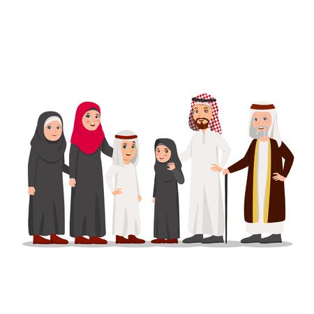 Group of Arabian Family Child, Parents and Grandparents Vector Cartoon Illustration Illustration