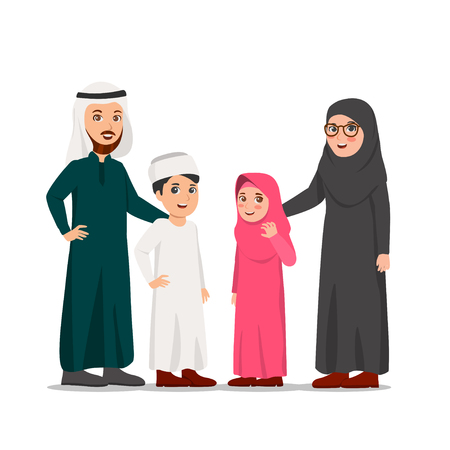 Happy Middle-Eastern Family, Father, Mother and Their Children Vector Cartoon Illustration