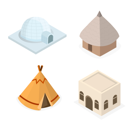 Establecer casa nativa tribal isométrica de dibujos animados de vector de ilustración de tribu de mundo diferente