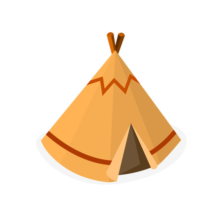 Wigwam or Teepee meaning Indian Tent, Traditional Tribal Native House Isometric Vector Illustration Illustration