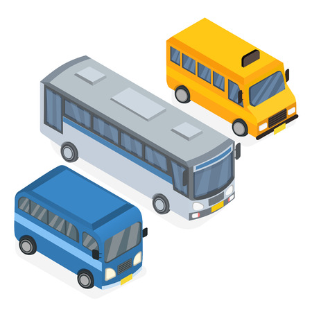 Set Bus, Mini Bus, and School Bus Isometric Vector Illustration Illustration