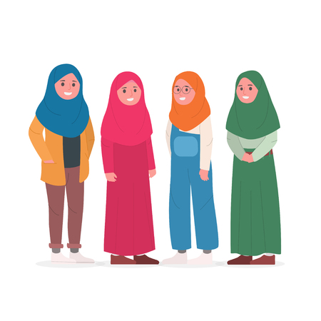Group of Young Muslim Woman Wearing Casual Hijab Veil Flat Doodle Vector Illustration Illustration