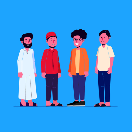 Group of Young Muslim Man Character Illustration Flat Doodle Vector