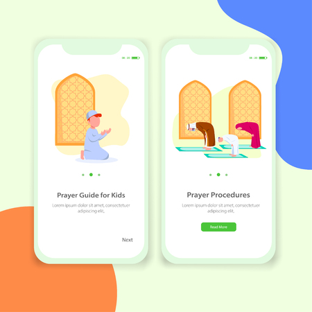 Prayer App Tutor for Kids Mobile Application User Interface Illustration