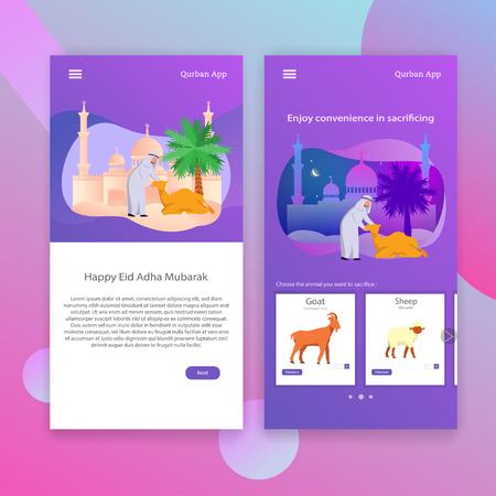 Qurban, Islamic Tradition Sacrifice Eid Adha App Mobile User Interface Illustration Vector Template