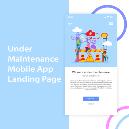 Mobile App Under Maintenance Landing Page UI Design Template