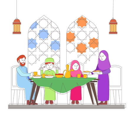 El significado de Iftar familiar está rompiendo su ayuno en el mes de Ramadán, diseño de ilustraciones vectoriales