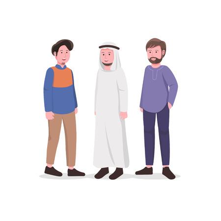 Illustrazione del fumetto di vettore del carattere del giovane uomo musulmano Vettoriali