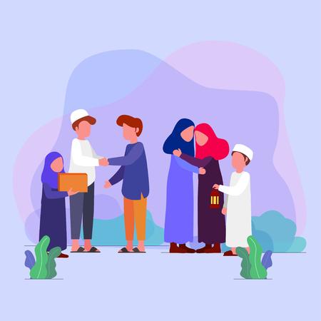 Eid Mubarrak, las familias visitan la tradición en la tarjeta de felicitación de ilustración vectorial de eid