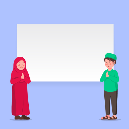 Two Muslim Kids Gesturing Praying Hand With Blank Banner for Greeting Template Vector Illustration Illustration