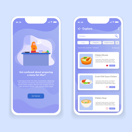 Iftar Mobile App UI Illustration Food Order Delivery Vector Template Onboard Standard-Bild - 117984137