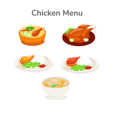 Set of Chicken Menu Cuisine From Various Types of Regions Vector Illustration