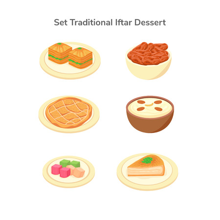 Set Isolated Middle Eastern Traditional Dessert for Iftar Illustration