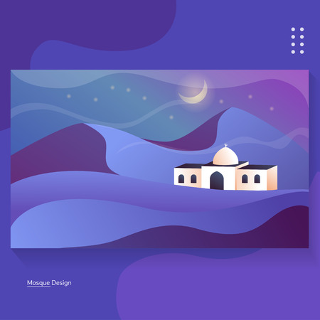 Mosque on Desert Night Illustration Background for Banner and Greeting Card Vector Standard-Bild - 118117539