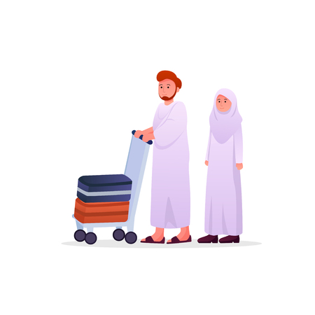 Two Muslims Wearing Ihram, Hajj Pilgrimage Dress Man and Woman Couple Vector Cartoon Illustration Иллюстрация
