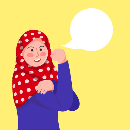 Hijab Girl Poses We Can Do It, Inspired by Rosie The Riveter With Blank Baloon Text Vector Cartoon Illustration Illusztráció