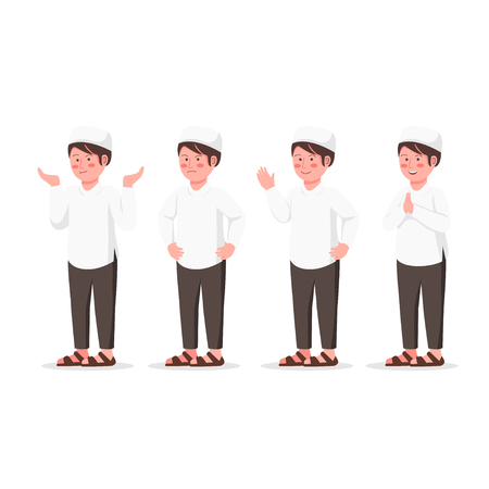 Set Expression Design Character of Arabian Kid, Cute Muslim Boy Flat Vector Cartoon