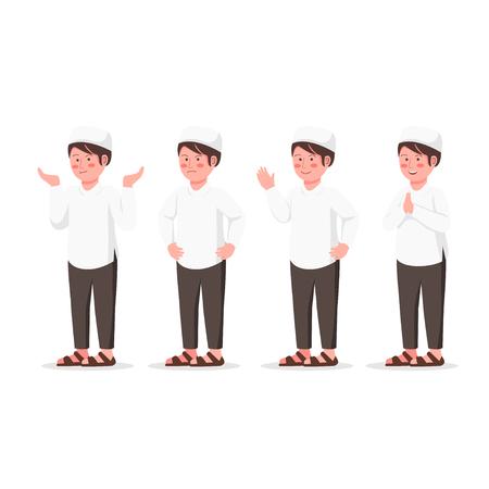 Set Expression Design Character of Arabian Kid, Cute Muslim Boy Flat Vector Cartoon