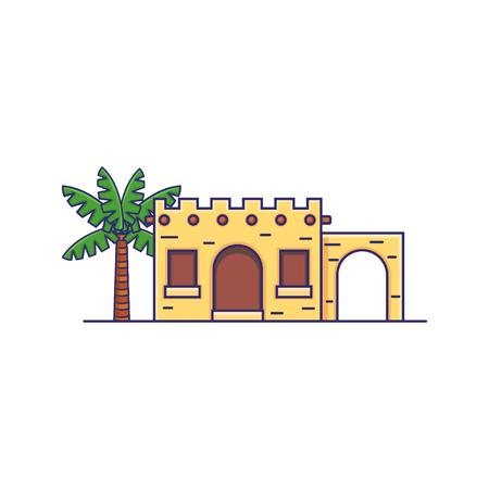 Icono de Vector de casa de Oriente Medio árabe de tribu tradicional