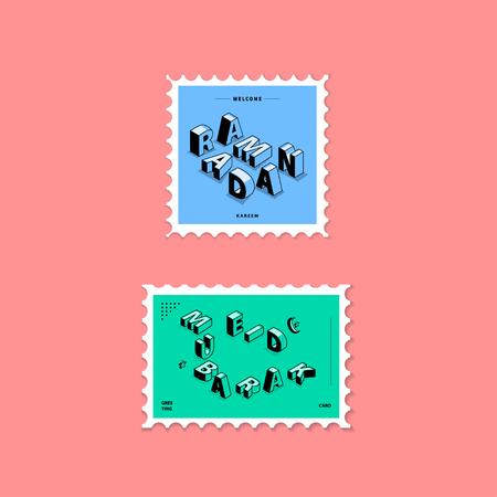 Ramadan Kareem et Eid Mubarak Greeting Card Stamp Illustration Ligne isométrique Lettre Typographie Vector Illustration