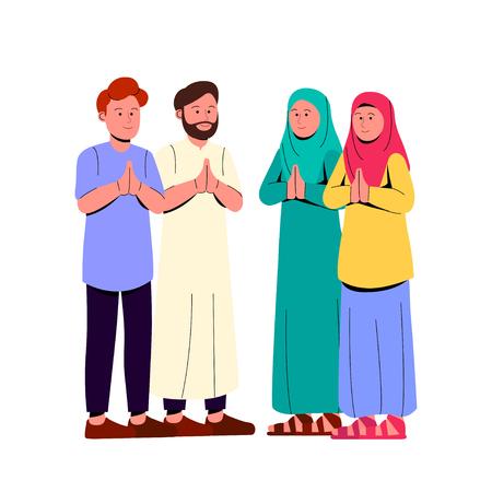 Group of Young Muslim Greeting Eid Mubarak Cartoon Illustration