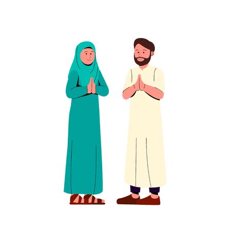 Muslim Couple Gesturing Praying Hand, Greeting Eid Mubarak Cartoon Illustration