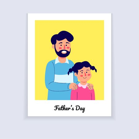 Fathers Day Illustration, Father and Daughter on Photo Potrait Cartoon